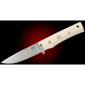 Cuchillo Fällkniven TK1imL TRE KRONOR 1 - Acero 3G - Micarta Marfil - F. Cuero
