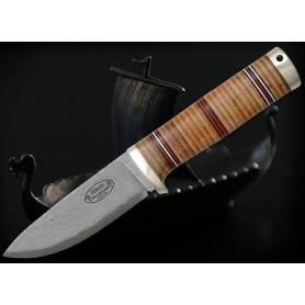 Cuchillo Fällkniven NL5cxL IDUN - DAMASCO Cowry X - Emp. Cuero - F. Cuero