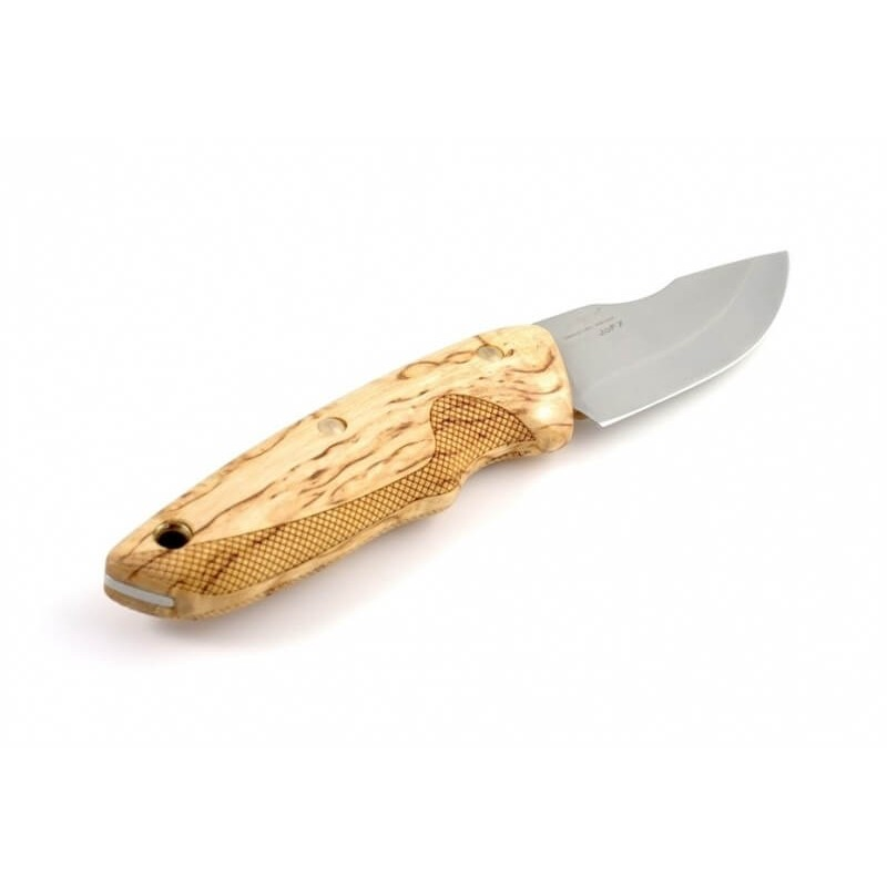 Cuchillo EKA Nordic JoF7 abedul rizado sin cuadrillado, f. cuero, caja regalo