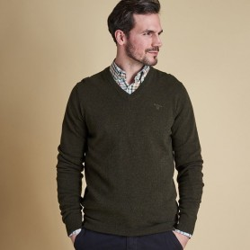 Jersey Barbour Essential lambswool V Neck olive marl - Barbour