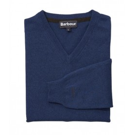 Jersey Barbour Essential lambswool V Neck deep blue
