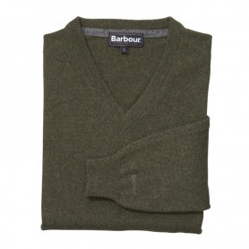 Jersey Barbour Essential Lambwool V Neck seaweed