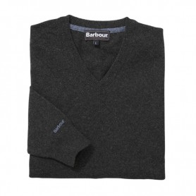 Jersey Barbour Essential Lambwool V Neck charcoal