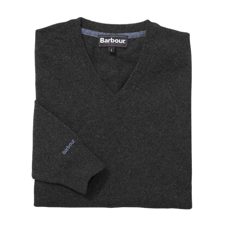 Essential Lambwool V Neck charcoal - MKN0341CH51 - Barbour - hombre - Jerseys BARBOUR
