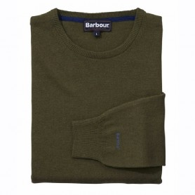 Jersey Barbour Essential Lambswool Crew Neck seaweed