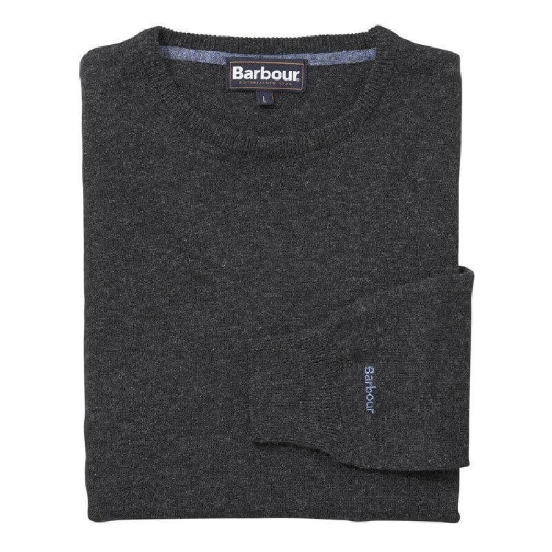 Jersey Barbour Essential Lambswool Crew Neck charcoal