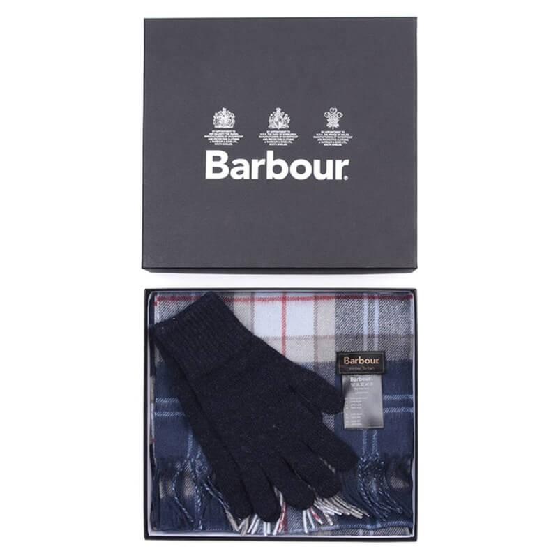 Bufanda y guantes Barbour Navy Tartan