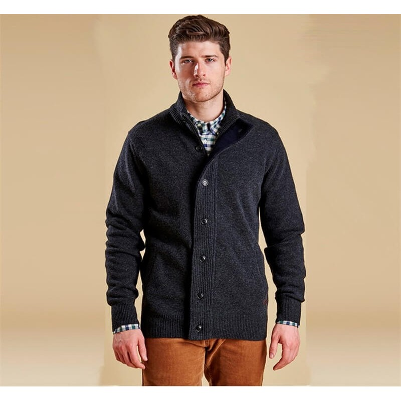 Chaqueta de punto Barbour Patch Zip charcoal marl