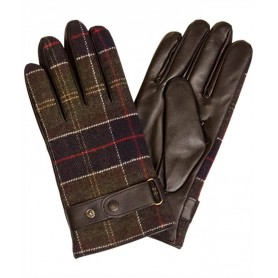 Guantes Barbour Tartan and Leather black