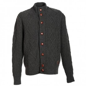 Kirkham Cable Button Thru Lambswoo charcoal - MKN0357CH51 - Barbour - Hombre - Chaquetas BARBOUR