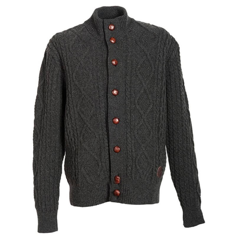 Barbour Kirkham Cable Button Thru Lambswoo charcoal - Chaquetas BARBOUR