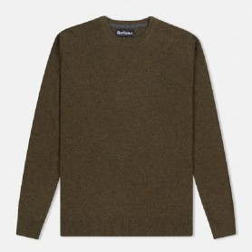 Jersey Barbour Essential Lambswool Crew Neck olive marl