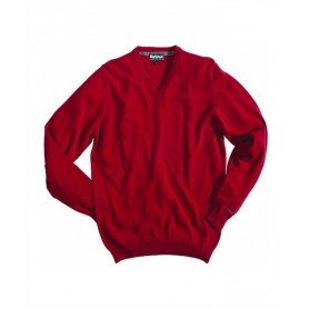 Jersey Barbour Essential lambswool V Neck rich red