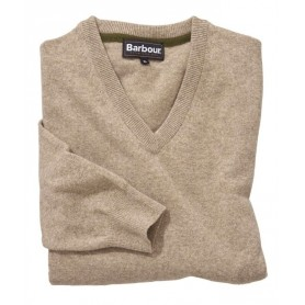 Essential lambswool V Neck barley
