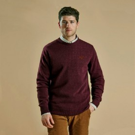 Jersey Barbour Essential Lambswool Crew Neck merlot