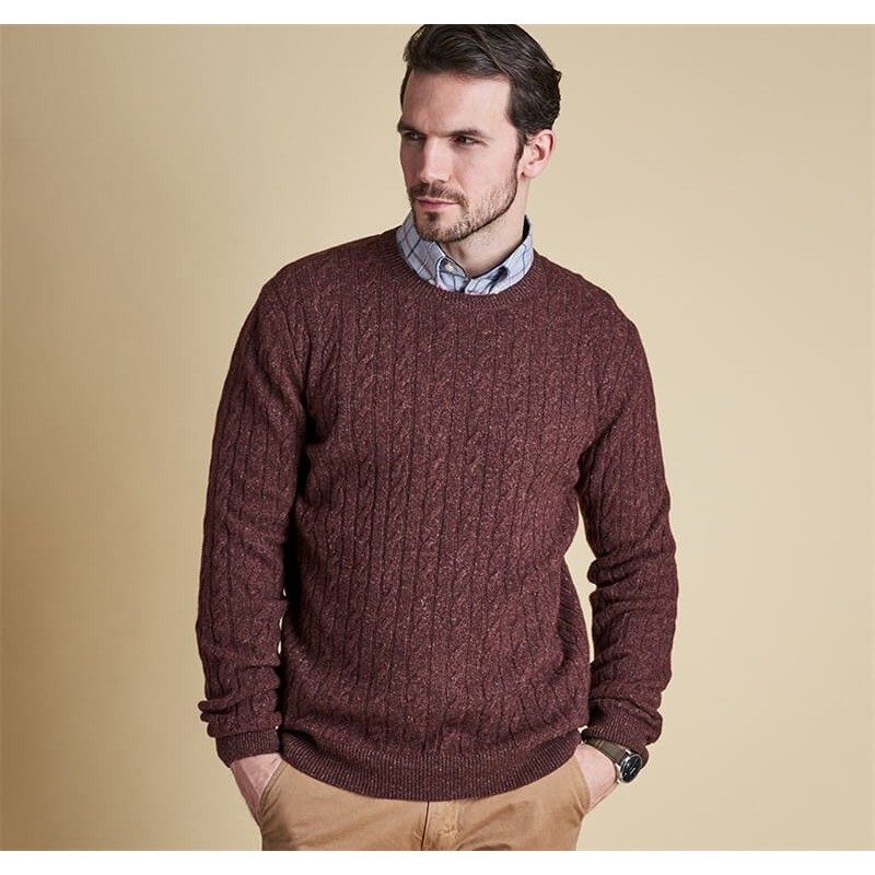 Jersey Barbour Essential Cable Crew rustic