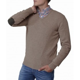 Harrow V Neck military brown