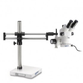 Stereo microscope Set Trinocular (UK) 0,7-4,5x: Double arm stand (Plate), LED ring