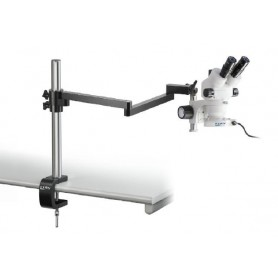 Stereo microscope Set Binocular (UK) 0,7-4,5x: Jointed arm stand (Clamp), LED ring