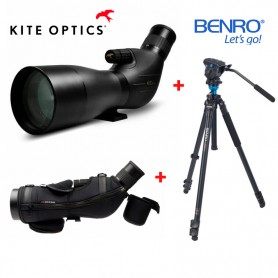 Kit Completo Kite Optics SP-82ED + Ocular 20-60x + Funda + Trípode Benro A2573F